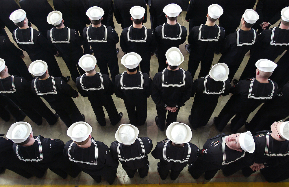 James Branaman  |  Kitsap Sun.USS Ohio sailors gather for a Return to Service Ceremony held at Naval Base Kitsap - Bangor which included Admiral Edmund Giambastiani, Congressman Norm Dicks, and Annie Glenn, wife of Senator John Glenn..