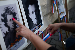 May 9, 2017 - Svilengrad, Bulgaria - Russian community held a march by occasion the Victory Day. People are holding photos of their relatives who fought in the ranks of the Red Army, on May 09, 2017. World War II veterans who fought in the ranks of the Red Army gathered today for an official Victory Day ceremony held in the Bulgarian town near the Bulgarian-Turkish border of Svilengrad, some 260 km east the capital of Sofia. commemorating 72 years to the surrender of Nazi Germany, Svilengrad, Bulgaria on May 09, 2017  (Credit Image: © Hristo Rusev/NurPhoto via ZUMA Press)