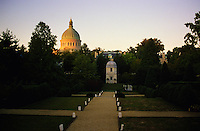 "Annapolis, Maryland --The historic Chapel at the United States Naval Academy, as viewed from the William Paca Gardens outside of the Academy, has a high dome visible throughout the City of Annapolis. . The Chapel is the home of the crypt of naval commander John Paul Jones, the famous Revolutionary War hero whose words, ""I have not yet begun to fight"" are so often quoted."