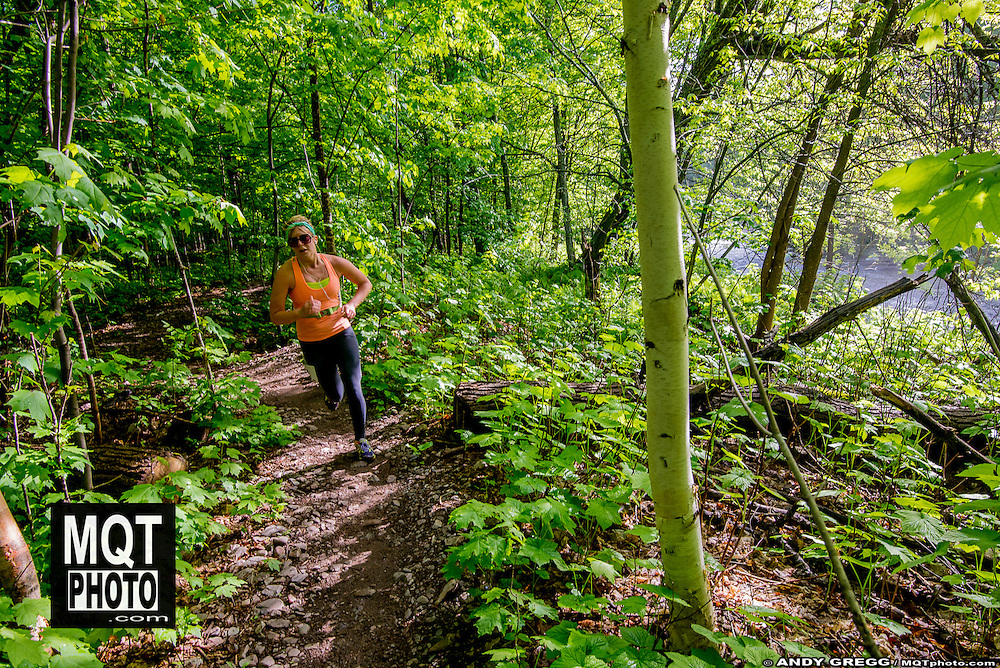 Half marathon and 5k running races at the 2014 Marquette Trails Festival at Marquette Mountain Ski Area in Marquette, Michigan.  The event showcases the trails of the Noquemanon Trail Network.