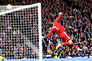 Scotland goalkeeper David Marshall (1) (Wigan Athletic) called into action as he pushes the shot over the bar during the UEFA European 2020 Qualifier match between Scotland and Russia at Hampden Park, Glasgow, United Kingdom on 6 September 2019.