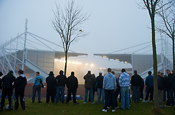 STOKE-ON-TRENT, ENGLAND - Saturday, November 29, 2008: Stoke City supporters watch for free from a hill alongside the Britannia Stadium as their side draw 1-1 with Hull City during a Premiership match. (Photo by David Rawcliffe/Propaganda)