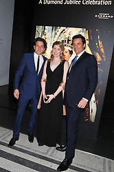 Left to right, STEPHEN WEBSTER, curator SUSANNA BROWN and ERIC DEARDORFF CEO of Garrard at a private view of Photographs by Cecil Beaton celebrating the diamond jubilee of HM The Queen Elizabeth 11 at the Victoria & Albert Museum, Cromwell Road, London on 6th February 2012.