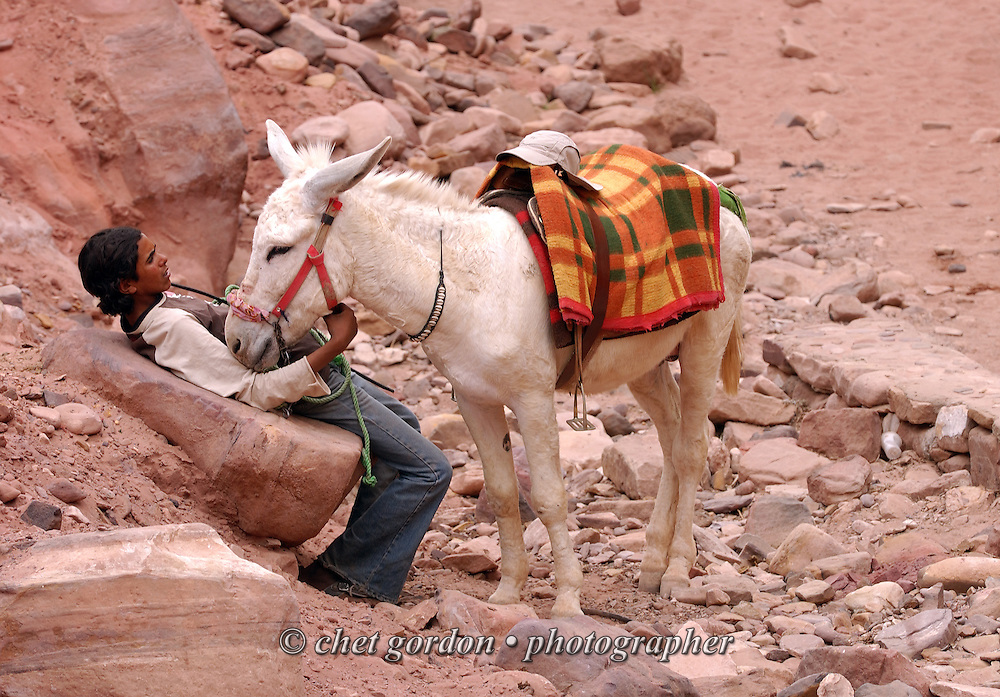 A Bedouin man with his donkey in the ancient city of Petra, Jordan on April 28, 2006. Petra is considered the most famous and gorgeous site in Jordan located about 262 km south of Amman and 133 km north of Aqaba. It is the legacy of the Nabataeans, an industrious Arab people who settled in southern Jordan more than 2000 years ago. Admired then for its refined culture, massive architecture and ingenious complex of dams and water channels, Petra is now a UNESCO world heritage site that enchants visitors from all corners of the globe.