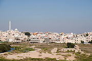 Israel, Northern Coastal Plains, Jisr Az Zarqa. View of the town from west. The central masque is viewable