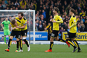 Burton Albion striker Cauley Woodrow (12) scores a goal 1-0 and celebrates during the EFL Sky Bet Championship match between Burton Albion and Nottingham Forest at the Pirelli Stadium, Burton upon Trent, England on 11 March 2017. Photo by Richard Holmes.