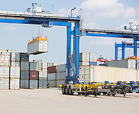 Cargo containers in shipping yard