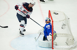Brock Nelson of USA scores against Robert Kristan of Slovenia first goal for USA during Ice Hockey match between Slovenia and USA at Day 10 in Group B of 2015 IIHF World Championship, on May 10, 2015 in CEZ Arena, Ostrava, Czech Republic. Photo by Vid Ponikvar / Sportida