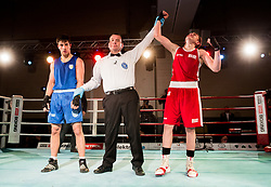 Damjan Perencevic of Serbia (BLUE) and Tomi Lorencic of Slovenia (RED) in Junior 63 kg Category during Dejan Zavec Boxing Gala event in Laško, on April 21, 2017 in Thermana Lasko, Slovenia. Photo by Vid Ponikvar / Sportida