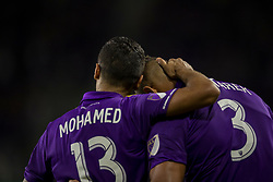 August 4, 2018 - Orlando, FL, U.S. - ORLANDO, FL - AUGUST 04: Orlando City defender Mohamed El-Munir (13) congratulates Orlando City defender Amro Tarek (3) after he scored a goal during the soccer match between the Orlando City Lions and the New England Revolution on August 4, 2018 at Orlando City Stadium in Orlando FL. (Photo by Joe Petro/Icon Sportswire) (Credit Image: © Joe Petro/Icon SMI via ZUMA Press)