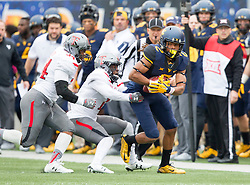 Nov 7, 2015; Morgantown, WV, USA; West Virginia Mountaineers wide receiver Ka'Raun White catches a pass during the first quarter against the Texas Tech Red Raiders at Milan Puskar Stadium. Mandatory Credit: Ben Queen-USA TODAY Sports