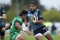 September 23, 2017 - Galway, Ireland - Rey Lee-Lo of Cardiff tackled by Bundee Aki of Connacht during the Guinness PRO14 Conference A match between Connacht Rugby and Cardiff Blues at the Sportsground in Galway, Ireland on September 23, 2017  (Credit Image: © Andrew Surma/NurPhoto via ZUMA Press)
