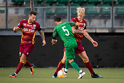(L-R) John Goossens of ADO Den Haag, Ergys Kace of Panathinaikos, Lex Immers of ADO Den Haag during the Pre-season Friendly match between ADO Den Haag and Panathinaikos at the Cars Jeans Stadium on July 28, 2018 in The Hague, The Netherlands