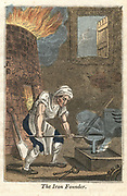 Ironfounder - Rotherham. Molten metal being poured into mould created by pattern pressed into damp sand. Hand-coloured woodcut, London, 1821.