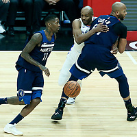 06 December 2017: Minnesota Timberwolves guard Jamal Crawford (11) drives past `w9` on a screen set by Minnesota Timberwolves forward Taj Gibson (67) during the Minnesota Timberwolves 113-107 victory over the LA Clippers, at the Staples Center, Los Angeles, California, USA.