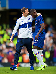 LONDON, ENGLAND - Sunday, August 18, 2019: Chelsea's manager Frank Lampard embraces Kurt Zouma after the FA Premier League match between Chelsea's  FC and Leicester City FC at Stamford Bridge. The game ended in a 1-1 draw. (Pic by David Rawcliffe/Propaganda)