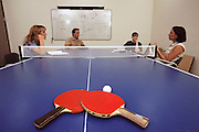 "Silicon Valley, California; Icarian Corporation Software; 4 PM: CEO Doug Merritt meets with three employees to strategize on an internal program to instill company values in their employees. The ping pong table they are meeting over was Icarian's first meeting table. All of Icarian's employees are ranked according to their ping-pong ability and there is a ""ladder"" of their ranking posted on the web. (1999)."