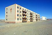 GOBI DESERT, MONGOLIA..09/03/2001.Bayanhongor (Bayankhongor). Appartment buildings..(Photo by Heimo Aga).