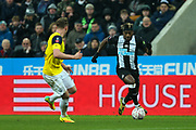 Allan Saint-Maximin (#10) of Newcastle United on the ball during the The FA Cup match between Newcastle United and Oxford United at St. James's Park, Newcastle, England on 25 January 2020.