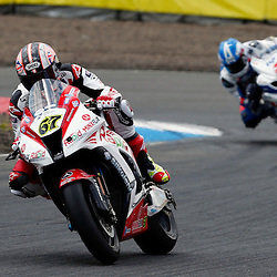 MCE BRITISH SUPERBIKE CHAMPIONSHIP Round Four Knockhill..Shane Byrne leads from Josh Brookes in the first race of the day at Knockhill in the BSB championship ....(c) STEPHEN LAWSON | StockPix.eu