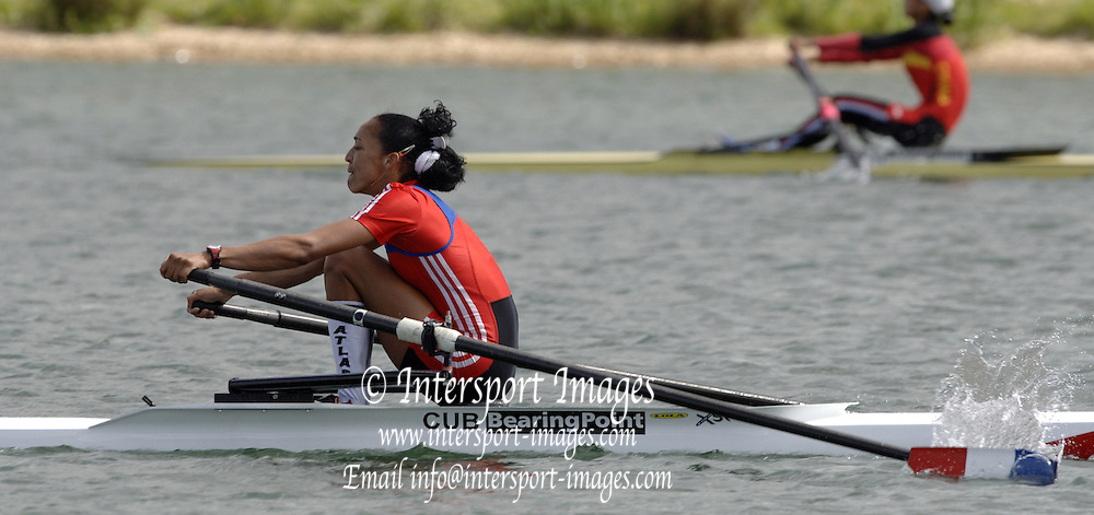 2005 FISA World Cup, Dorney Lake, Eton, ENGLAND..CUB LW1X Ismaray Marrero Aria. sculls in for the silver medal. .Photo  Peter Spurrier. .email images@intersport-images.[Mandatory Credit Peter Spurrier/ Intersport Images] , Rowing Courses, Dorney Lake, Eton. ENGLAND