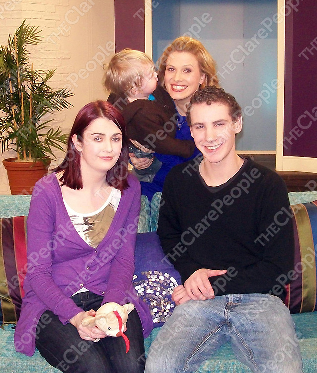 Sorcha Molony, Eoin Brennan and their son Cillian, along with Sheana Keane from RTE's Afternoon Show.