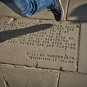William Wordsworth's words are craved into a slab along the Thames River in London, United Kingdom.