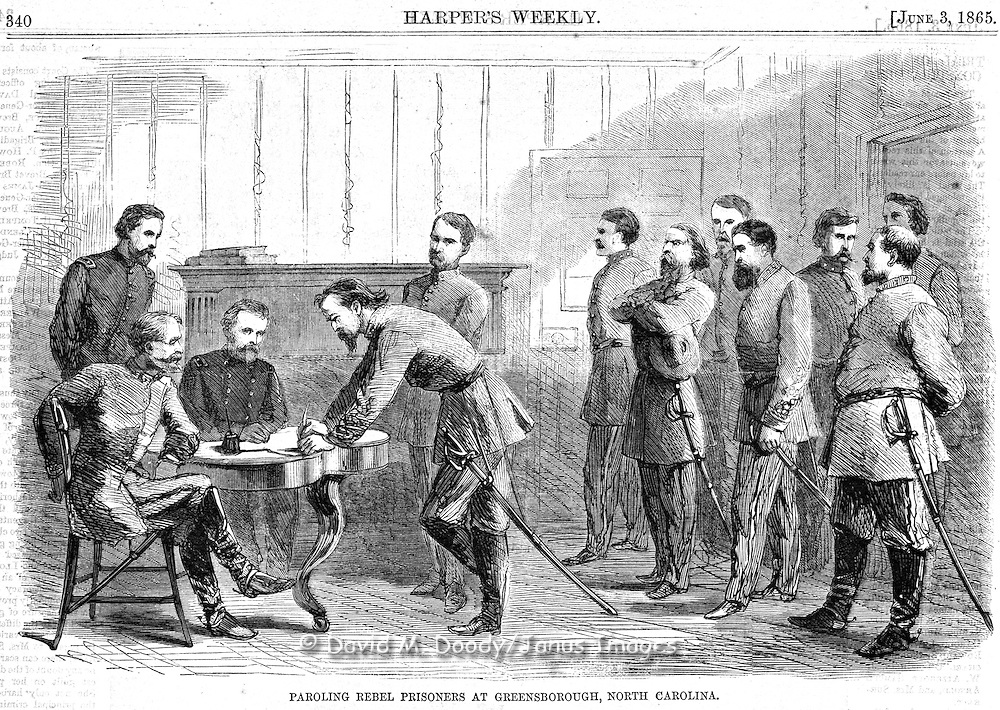 Civil War: Paroling rebel prisoners in Greensborough, North Carolina. Harper's Weekly, Saturday June 3, 1865.