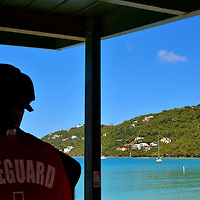 Lifeguard at Magens Bay on the Northside, Saint Thomas <br />