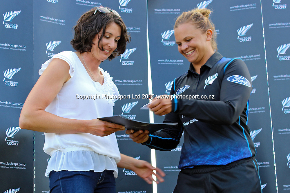The White Ferns captain makes a special presentation to recently retired White Fern Nicola Browne. 1st one day international, womens cricket match at Bay Oval, Mt Maunganui, 11 February 2015. Copyright Photo: Margot Butcher / www.photosport.co.nz