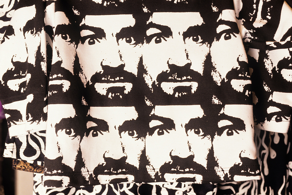 USA, California, San Francisco, Detail of  Charles Manson's face on dress fabric at  Ameba Boutique in Haight Ashbury