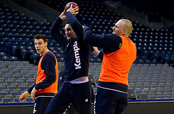 Luka Zvizej of Slovenia vs Miha Zvizej of Slovenia during practice session of Slovenia national team 1 day before handball match against Macedonia for 5th place at 10th EHF European Handball Championship Serbia 2012, on January 26, 2012 in Beogradska Arena, Belgrade, Serbia.  (Photo By Vid Ponikvar / Sportida.com)