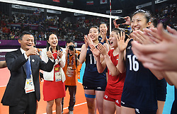 JAKARTA, Sept. 1, 2018  Jack Ma (1st L), founder and chairman of Chinese e-commerce giant Alibaba Group, congrats Chinese players after winning women's volleyball final between China and Thailand at the 18th Asian Games 2018 in Jakarta, Indonesia, Sept. 1, 2018. (Credit Image: © Du Yu/Xinhua via ZUMA Wire)