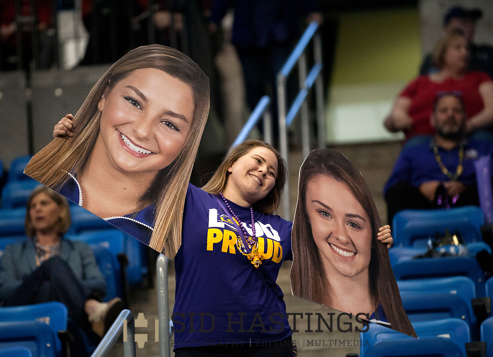 21 APRIL 2018 -- ST. LOUIS -- An LSU gymnastics fan poses for a photo before the 2018 NCAA Women's Gymnastics Championship Super Six at Chaifetz Arena in St. Louis Saturday, April 21, 2018.<br /> Photo &copy; copyright 2018 Sid Hastings.