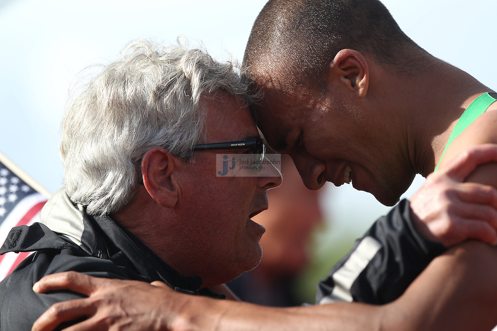 Ashton Eaton celebrates with his coach Harry Marra after finishing the 1500m portion of the Decathlon for a world record during day 2 of the U.S. Olympic Trials for Track & Field at Hayward Field in Eugene, Oregon, USA 23 Jun 2012..(Jed Jacobsohn/for The New York Times)...