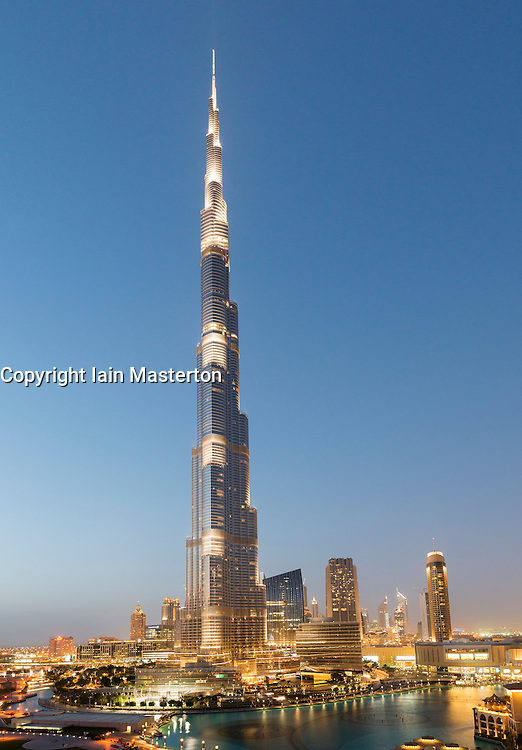 Night view of Burj Khalifa Tower world's tallest building in Downtown Dubai UAE