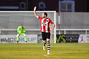 Goal - Ryan Harley (7) of Exeter City celebrates scoring a goal to give a 3-0 lead to the home team during the EFL Sky Bet League 2 match between Exeter City and Lincoln City at St James' Park, Exeter, England on 17 May 2018. Picture by Graham Hunt.