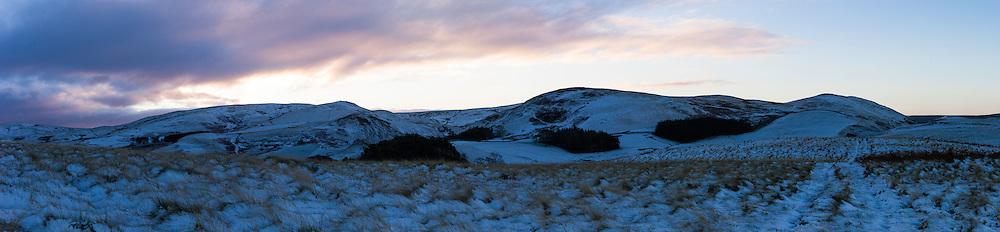 Humblemoor, Hownam, Jedburgh, Scottish Borders, UK. 21st November 2015. Looking south across Buchtrig towards the Anglo Scot border.