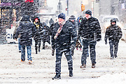 """The """"Bomb Cyclone"""" snow storm in Times Square in New York, NY on January 4, 2018"""