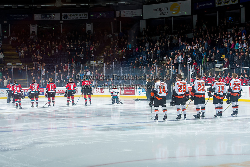 KELOWNA, CANADA - NOVEMBER 25: The Kelowna Rockets line up against the Medicine Hat Tigers on November 25, 2017 at Prospera Place in Kelowna, British Columbia, Canada.  (Photo by Marissa Baecker/Shoot the Breeze)  *** Local Caption ***