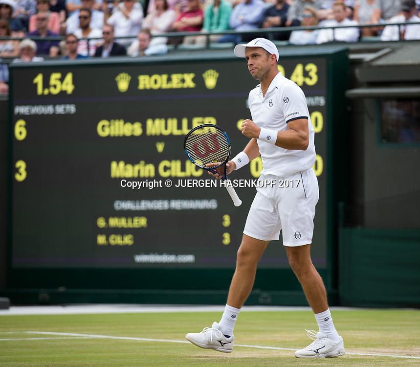 GILLES MULLER (LUX) macht die Faust und jubelt,Jubel,Emotion,<br /> <br /> Tennis - Wimbledon 2017 - Grand Slam ITF / ATP / WTA -  AELTC - London -  - Great Britain  - 12 July 2017.