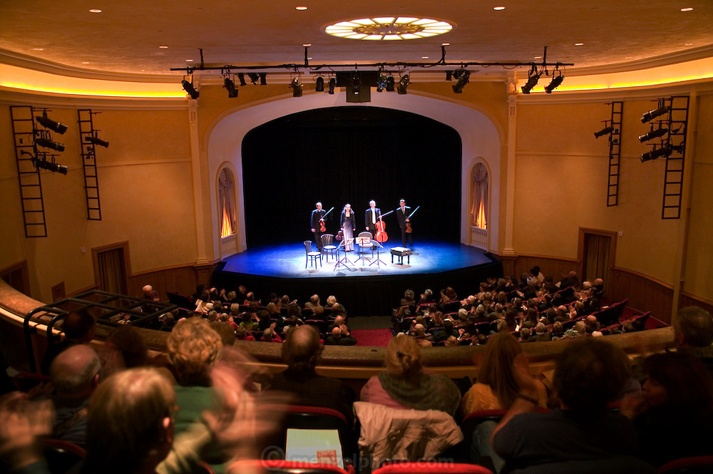 Penderecki String Quartet (from Poland) taking a bow after playing Leos Janacek's String Quartet No. 1, in the Napa Valley Opera House, Napa, California. The performance is one of many during the season of the Chamber Music in the Napa Valley organization (www.chambermujsicnaps.org). The 500-seat theater was built in 1880 and restored and reopened in 2003.