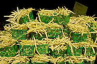 Fresh yellow wax beans at a farmers market. St. Lawrence Market, Toronto, Ontario, Canada.