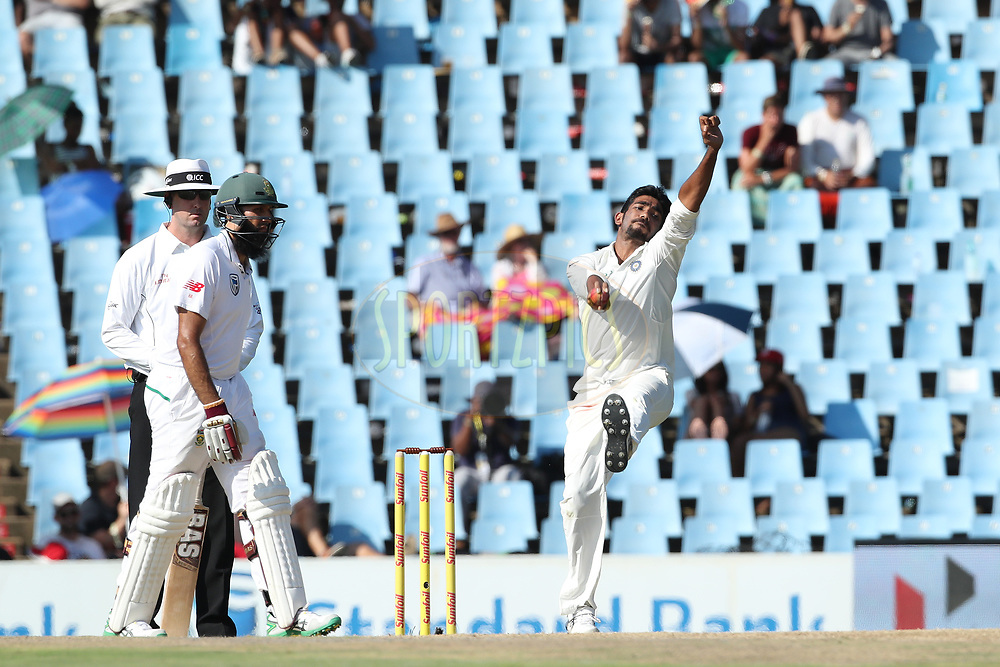 Jasprit Bumra of India during the first day of the second Sunfoil Test match between South Africa and India held at the Supersport park Cricket Ground in Centurion, South Africa on the 13th January 2018<br /> <br /> Photo by: Ron Gaunt / BCCI / SPORTZPICS