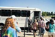 TUSCALOOSA, AL – SEPTEMBER 28, 2016: Prospective students from several states are introduced to the University of Alabama through a campus tour. Despite the rising cost of college tuition nationwide, in state student enrollment is becoming less profitable for major public universities. In response to these financial shortfalls, flagship universities around the country are working hard to rebrand themselves as attractive institutions for out of state students. The University of Alabama has begun an aggressive campaign to recruit out of state students, as the revenue from those students is much greater. CREDIT: Bob Miller for The New York Times