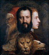 Allegory of Prudence' 1565-1575. Titian, an old man; Orazio, his son, full of vigour; Marco, his young nephew  yet to make his mark.  Tiziano Vecellio called Titian (c1488/1490-1576) leading painter of  the Venetian school in Italian Renaissance.