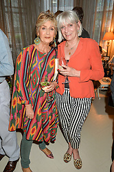 Left to right, JOSIE FONSECA (check spelling) and LADY ANNE LAMBTON at a party to celebrate the publication of 'A Girl From Oz' by Lyndall Hobbs held at Flat 1, 165 Cromwell Road, London on 12th May 2016.