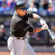 NEW YORK, NEW YORK - APRIL 13: Martin Prado, Miami Marlins, batting during the Miami Marlins Vs New York Mets MLB regular season ball game at Citi Field on April 13, 2016 in New York City. (Photo by Tim Clayton/Corbis via Getty Images)