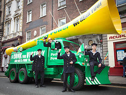 No fee for Repro: 17/06/2012 .Styrbjorn Gyklenkarne, Lisa Jager, Lewin Stöck, Jakob Anderson all from the Danish training tall ship Georg Stage, pictured as Top bookie Paddy Power sent its record breaking Vuvuzela truck onto the streets of Dublin on Sunday morning to help rally Ireland fans once last time around the Boys in Green ahead of their final Euro 2012 match against Italy tomorrow night.  Ireland fans can show their support by following the Twitter conversation #HONKforVICTORY! Picture: Andres Poveda Sharppix