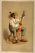 Plantation banjo player c1860-65 (poster) : lithograph showing an African Americans playing a Banjo